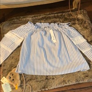 Off the shoulder blue and white striped NWT